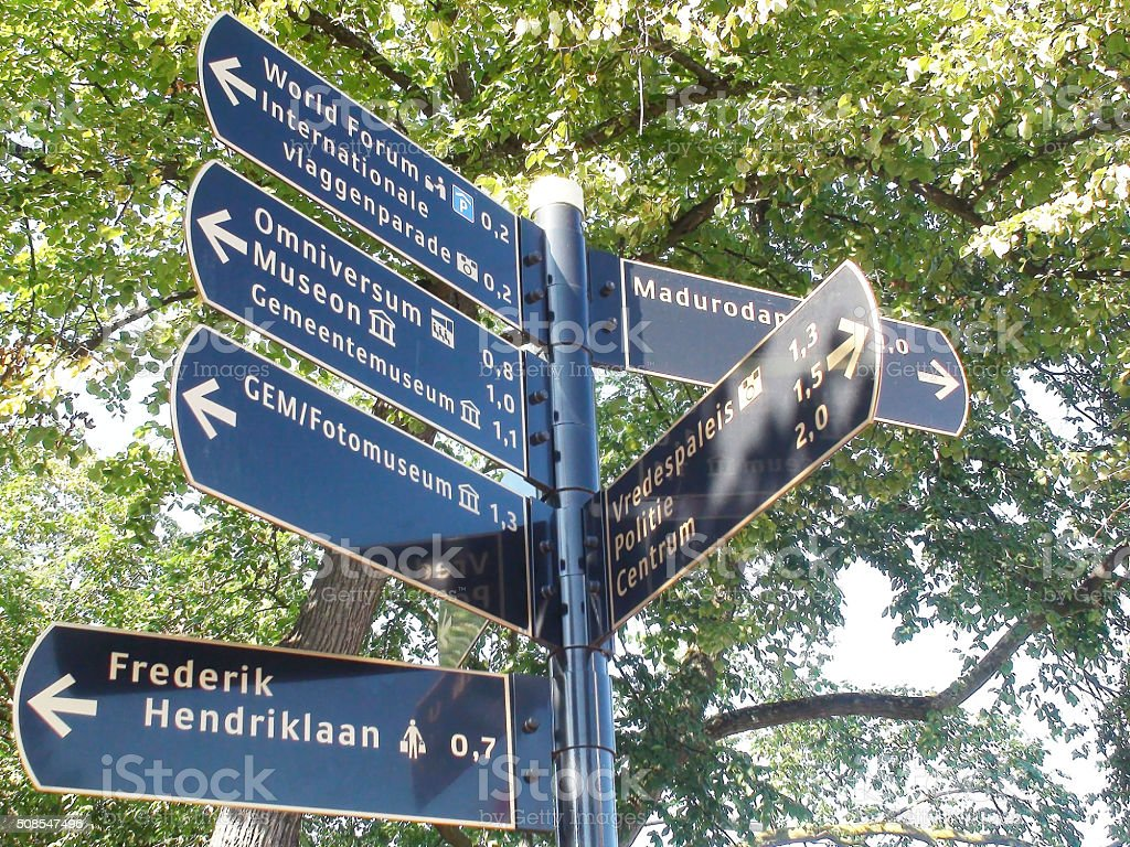 View Of Street Sign In The Hague The Netherlands Europe stock photo
