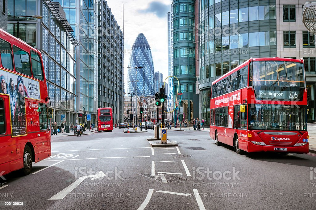 View of Street with Red Double Decker Buses stock photo