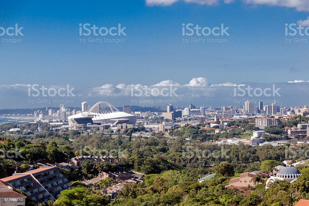 View of suburban and city landscape Durban South Africa stock photo