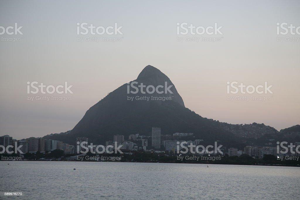 View of Sugarloaf Mountain and Rio de Janeiro Skyline, Brazil. stock photo