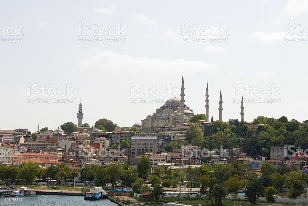 View of Suleymaniye Camii (Suleymaniye Mosque) Istanbul city, Turkey stock photo