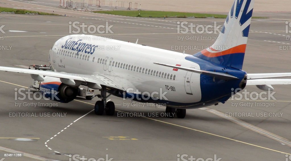 View Of Sunexpress Airline Passenger Airplane At Schiphol Airport Amsterdam The Netherlands stock photo
