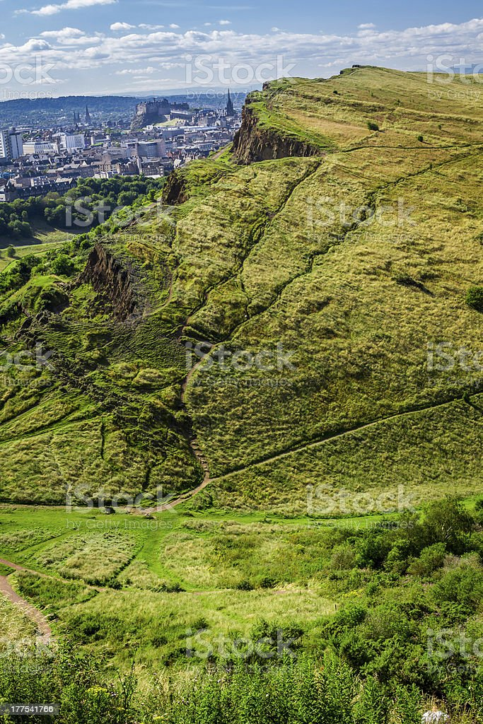 View of sunny Edinburgh from Arthur Seats in summer royalty-free stock photo