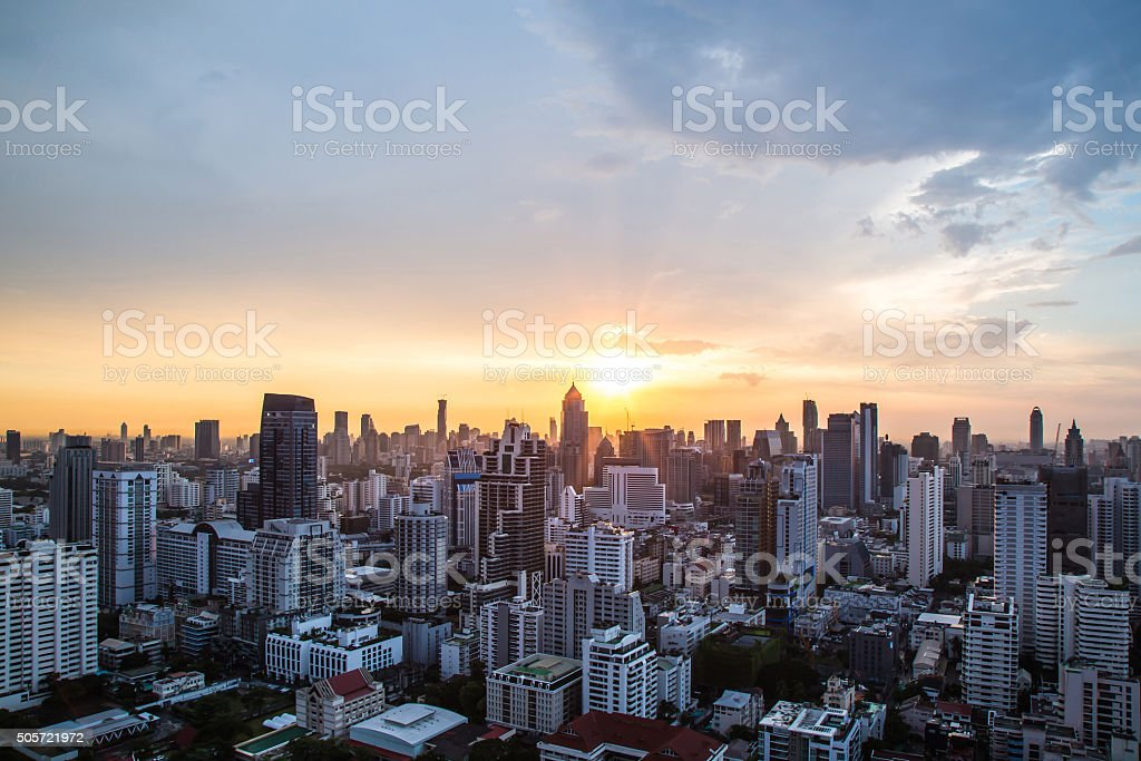 view of Sunset over city scape stock photo