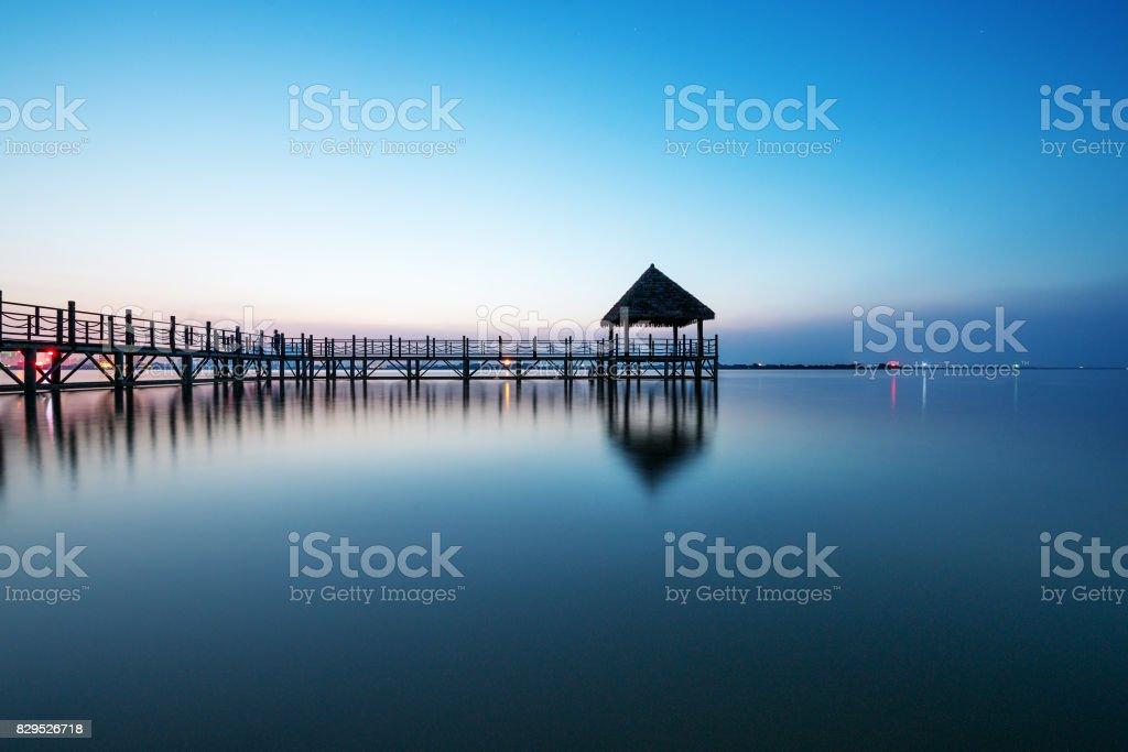View of Surabaya Beach, Indonesia stock photo