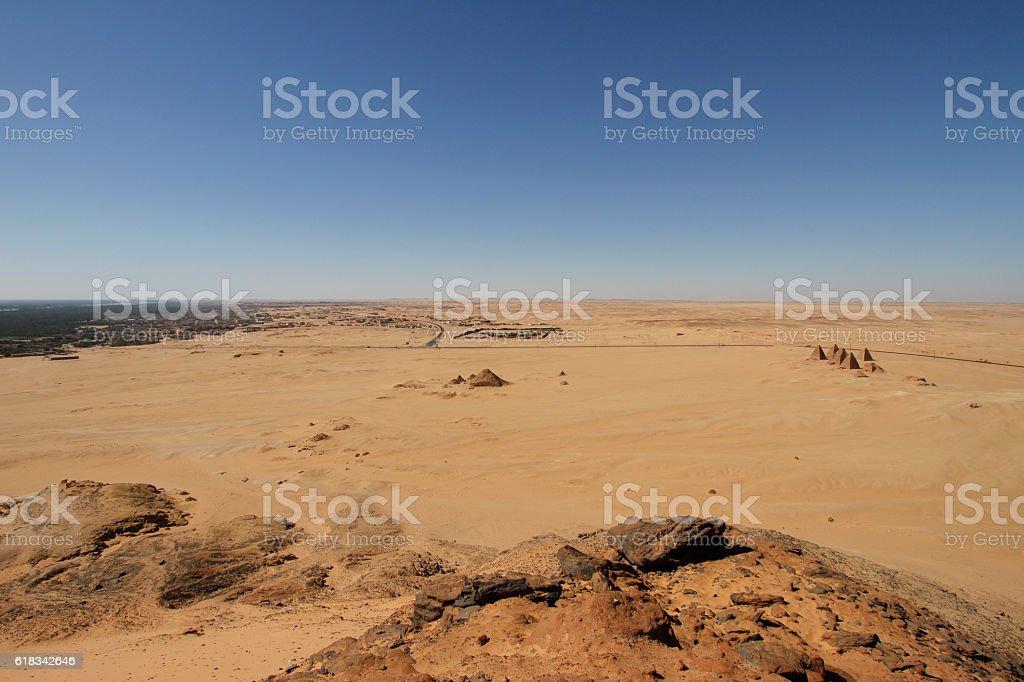 View of surronding desert from Jebel Barkal, Sudan stock photo