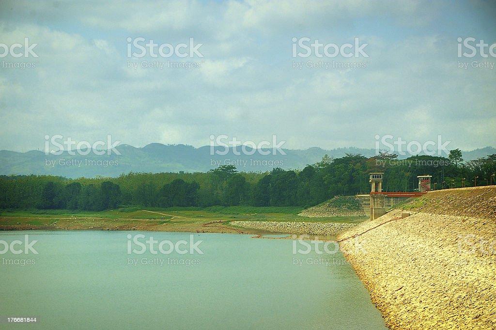 View of Sutami Lahor Dam under blue sky royalty-free stock photo