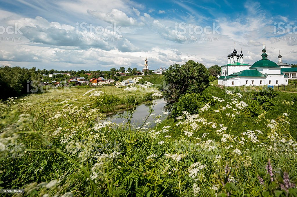 View of Suzdal, Russia through the Fields stock photo