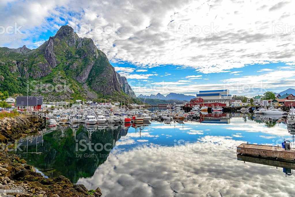 View of Svolvaer harbor, Norway stock photo