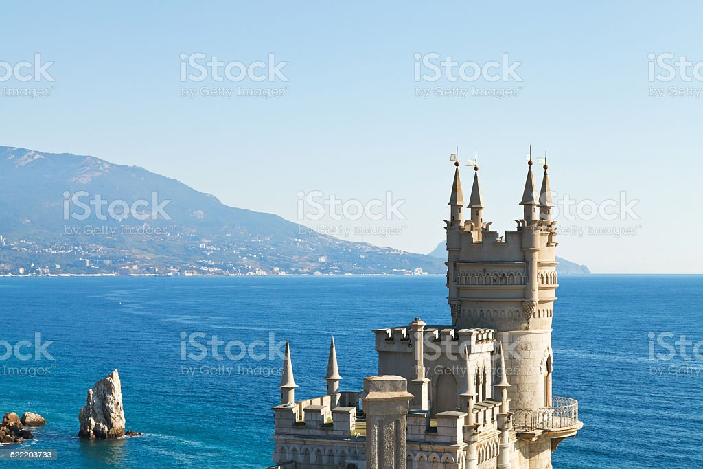 view of Swallow's Nest castle and rock Parus stock photo