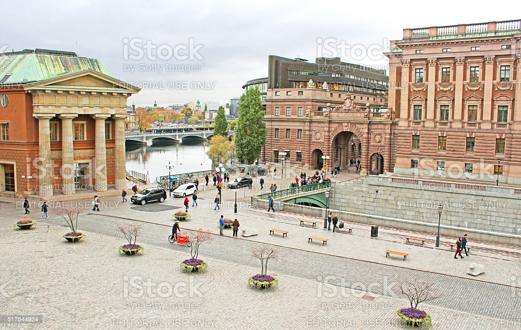 View of Sweden Riksdag from Stockholm palace, Sweden stock photo
