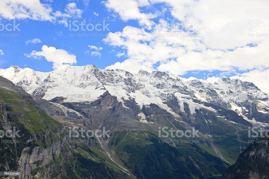 View of Swiss Alps, Gimmelwald stock photo