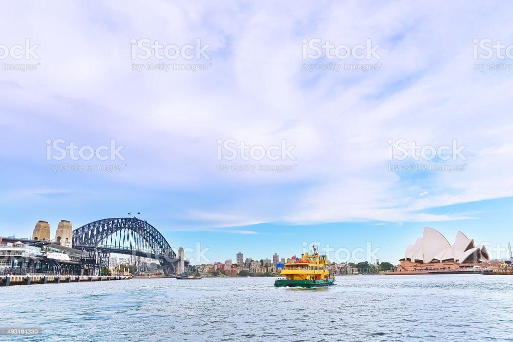 View of Sydney Harbor Bridge and Opera House stock photo