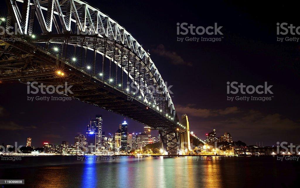 View of Sydney harbor bridge at night stock photo