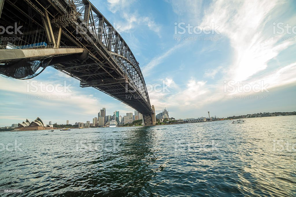 View of Sydney harbour from under Sydney harbour bridge, Australia stock photo