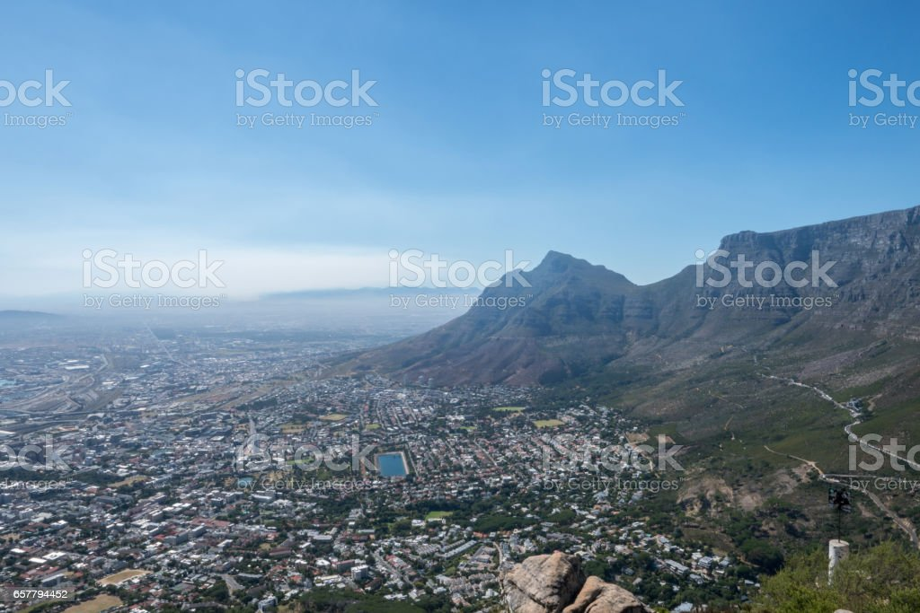 View of Table mountain and Cape Town city bowl stock photo