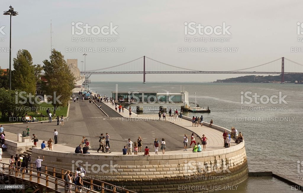 View of Tagus River and 25th of April bridge stock photo