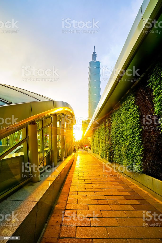 View of Taipei City at sunset. stock photo