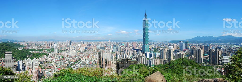 View of Taipei skyline on a cloudless sunny day stock photo