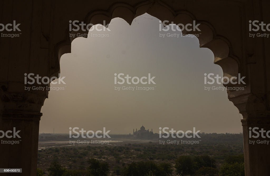 View of Taj Mahal from Agra Fort in India stock photo