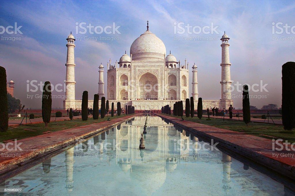 view of Taj Mahal Mausoleum on the blue sky background royalty-free stock photo