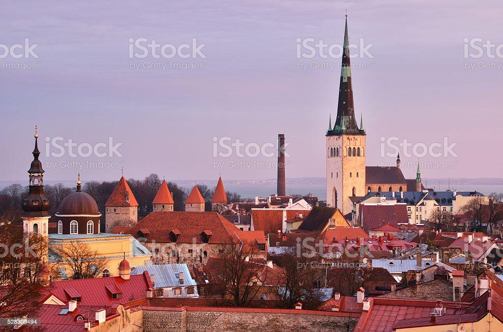 View of Tallinn Old Town at dawn, Estonia. stock photo