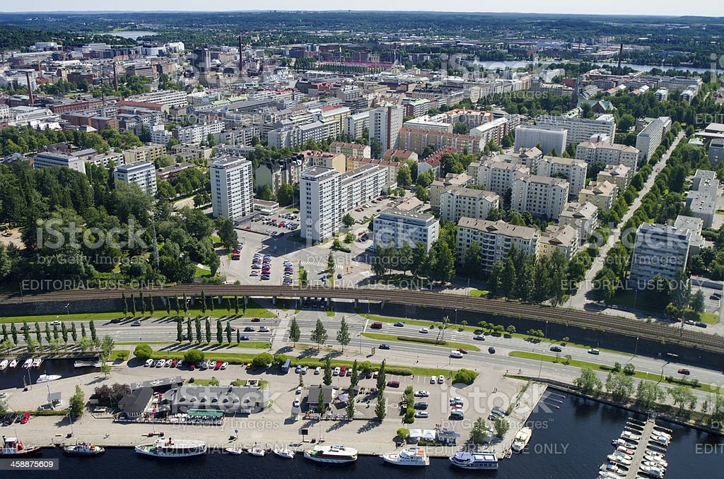 VIew of Tampere, Finland stock photo