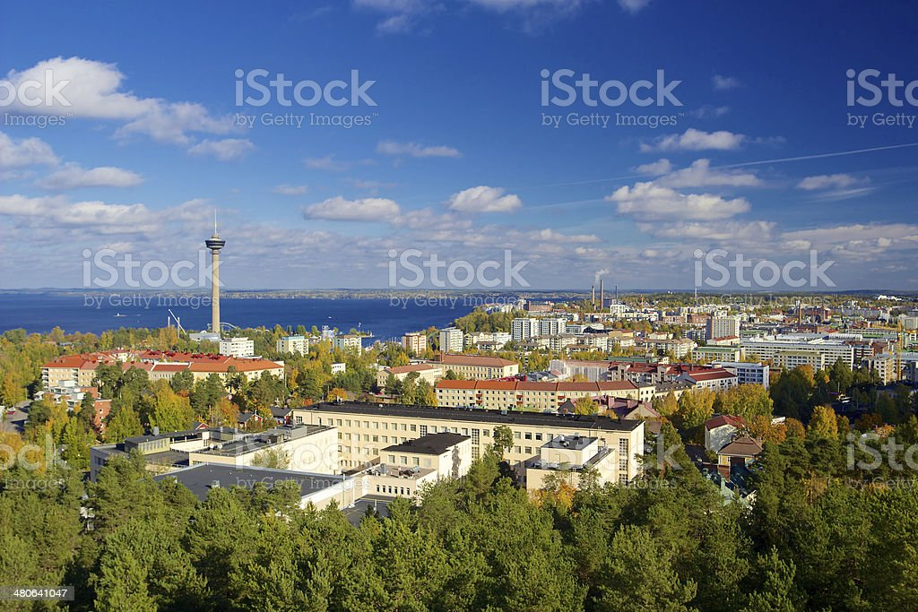 View of Tampere from Pyynikki tower stock photo