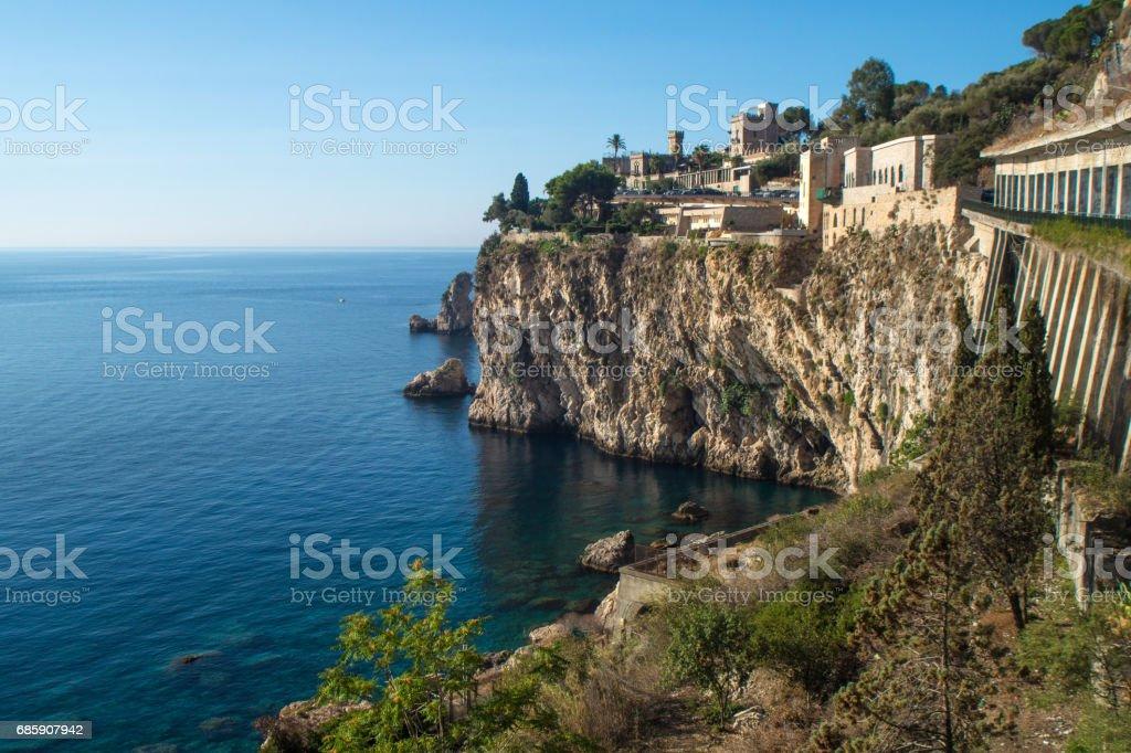 View of Taormina's coastline. Sicily stock photo