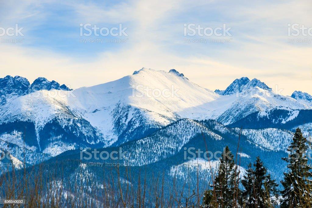 View of Tatra Mountains covered with snow near Bukowina Tatrzanska, Poland stock photo