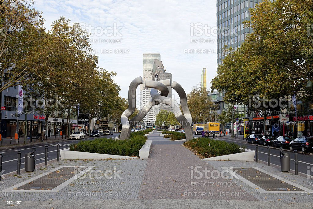 view of Tauentzienstrasse with sculpture Berlin stock photo