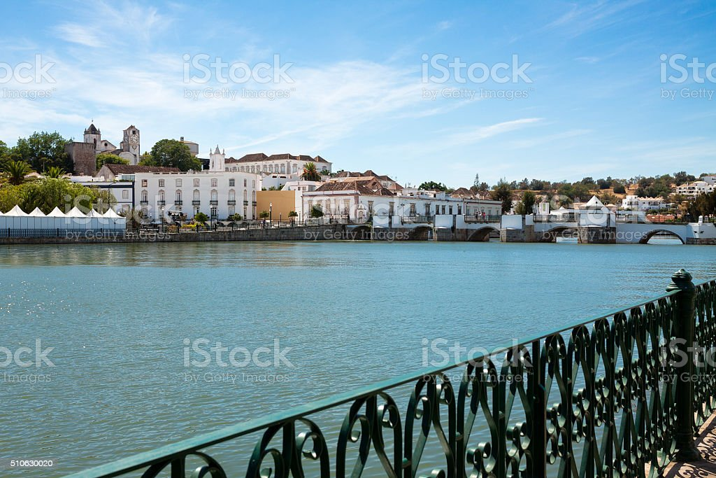 View of Tavira across the river Gilao stock photo
