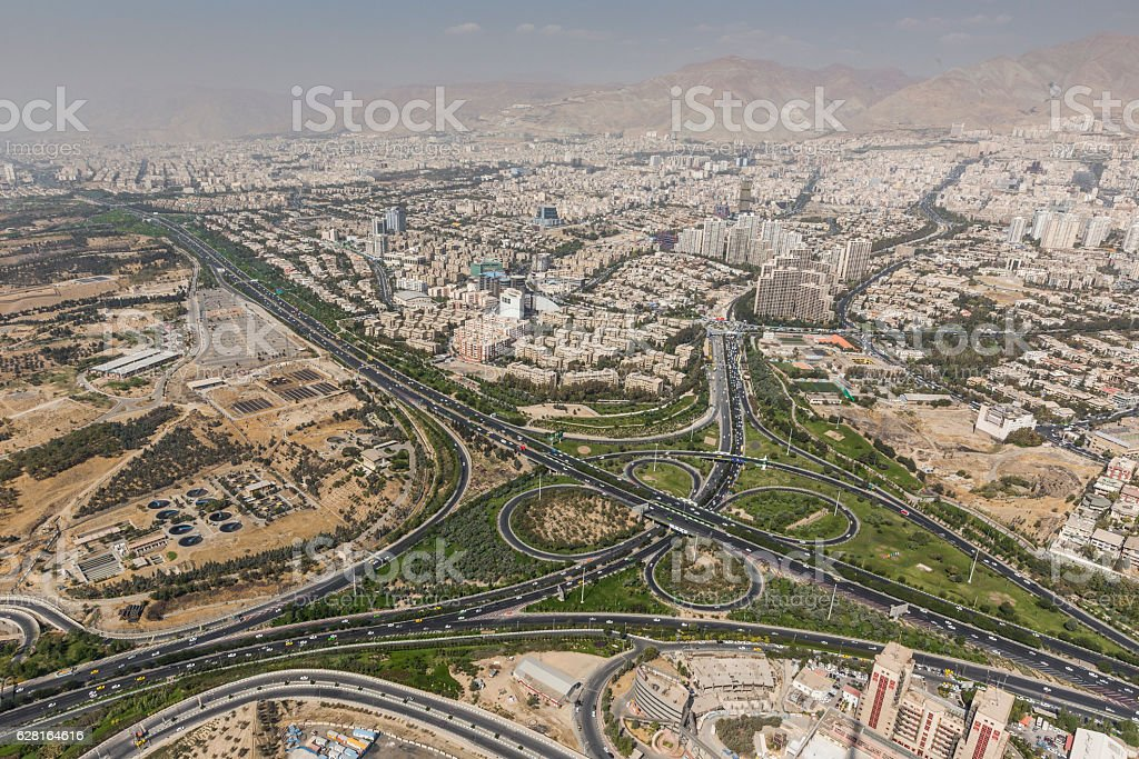 View of Tehran from the Azadi Tower - Iran stock photo