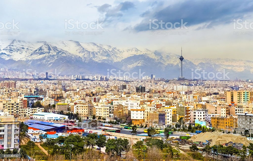 View of Tehran from the Azadi Tower stock photo