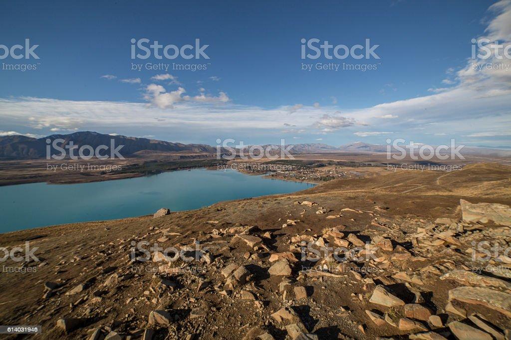 View of Tekapo township stock photo