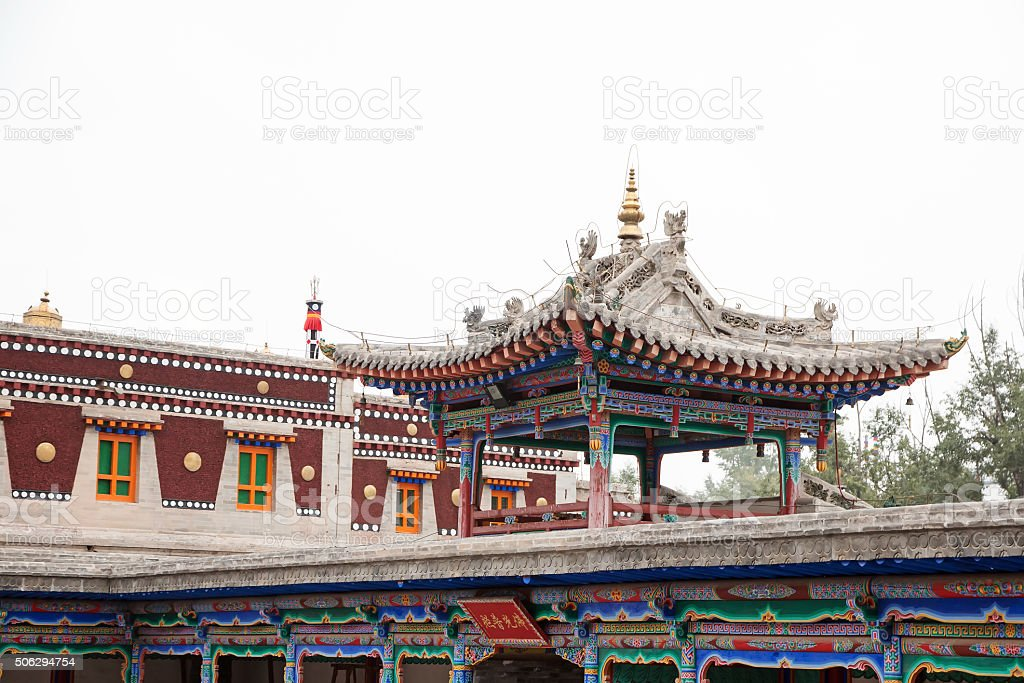 view of temple in Kumbum Monastery in Qinghai province, China stock photo