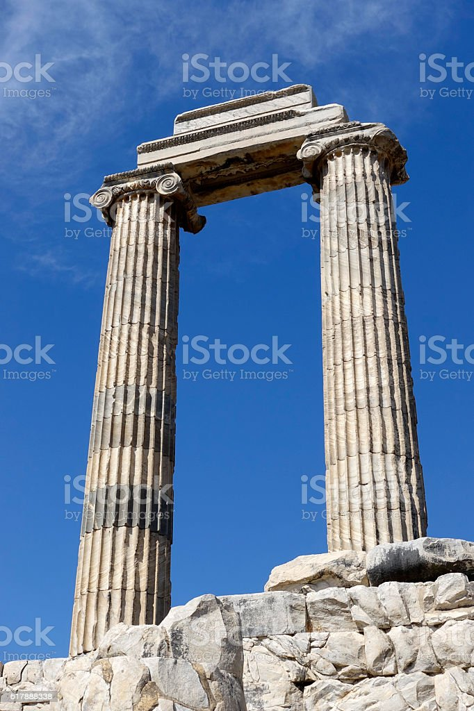 View of Temple of Apollo in antique city of Didyma stock photo