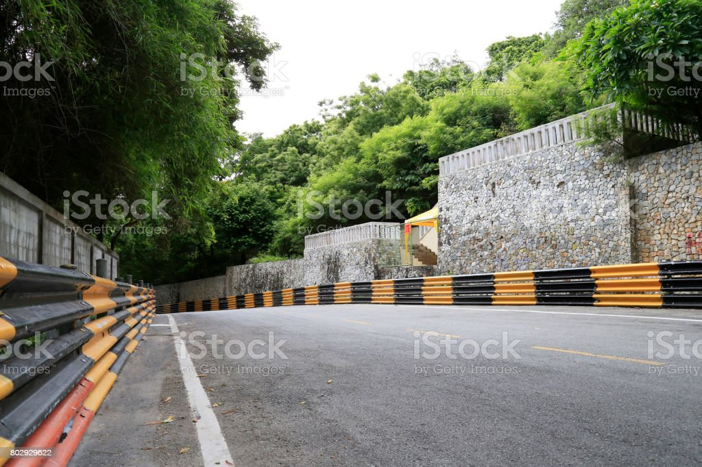 View of temporary street circuit. stock photo