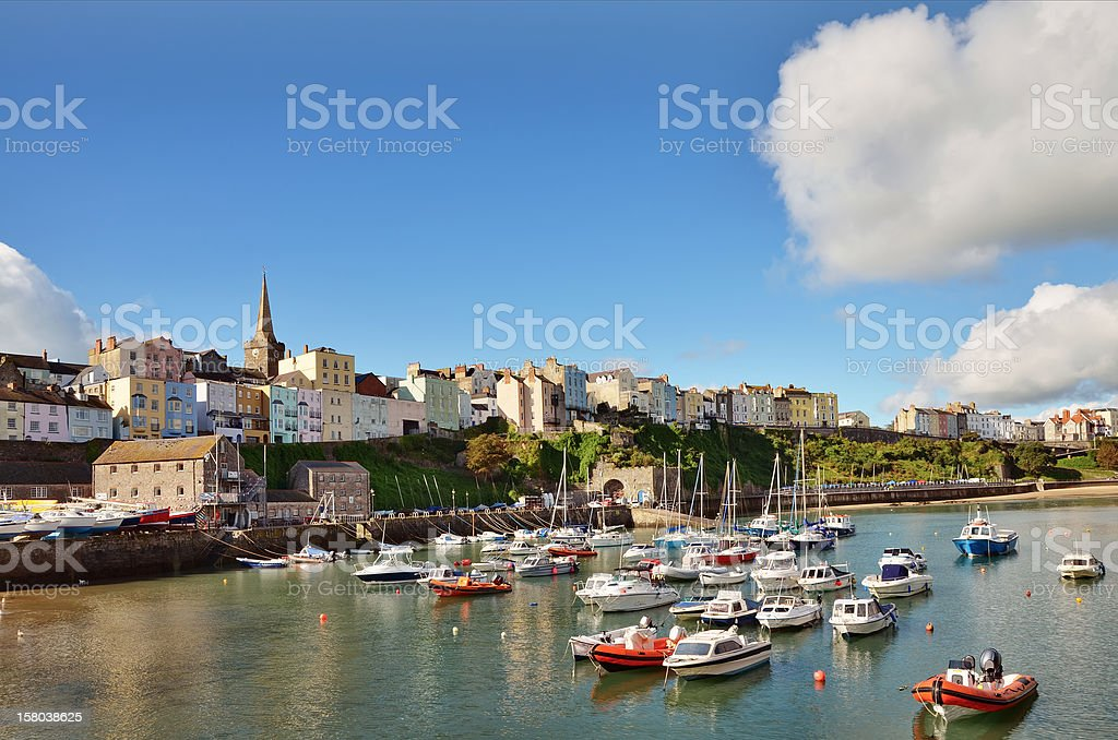 View of Tenby harbour and town on a summers day stock photo