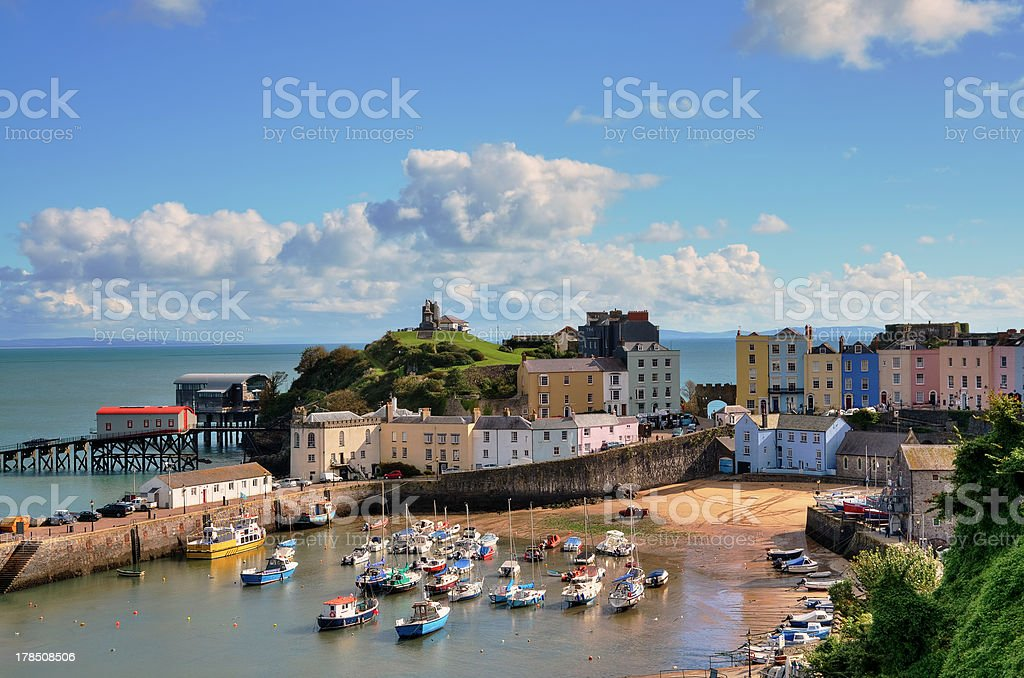 View of Tenby Harbour, with Castle Hill. stock photo