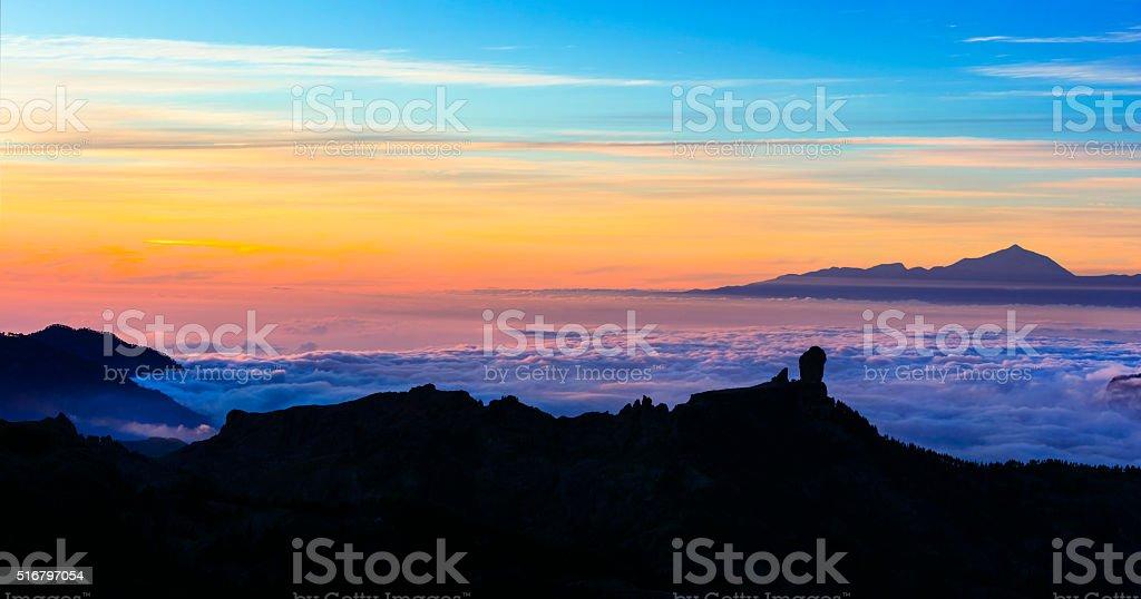 View of Tenerife From Roque de Nublo,Gran canaria,Spain stock photo