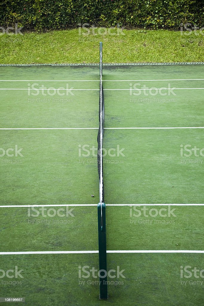 View of Tennis Court and Net from Sidelines royalty-free stock photo