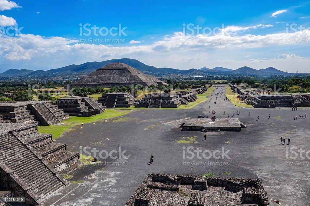 View of Teotihuacan ruins, Aztec ruins, Mexico stock photo