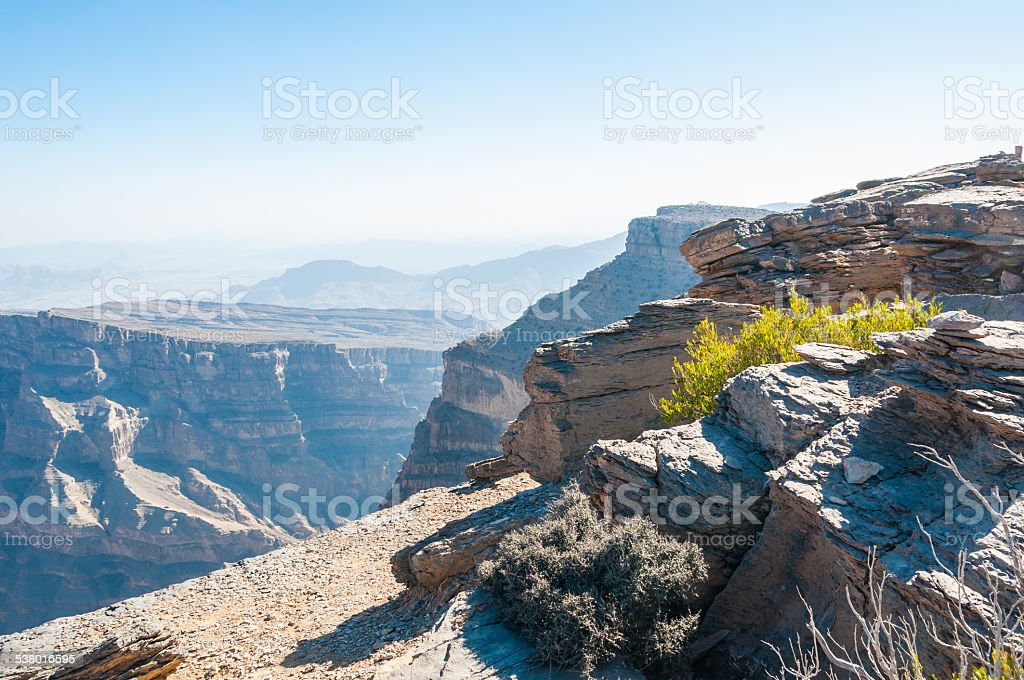 View of terrain of Canyon of Middle-East, Oman stock photo