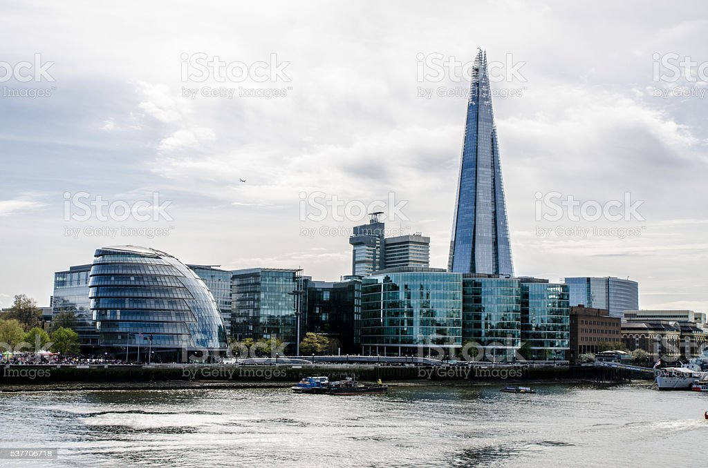 View of Thames River from London Tower Bridge stock photo