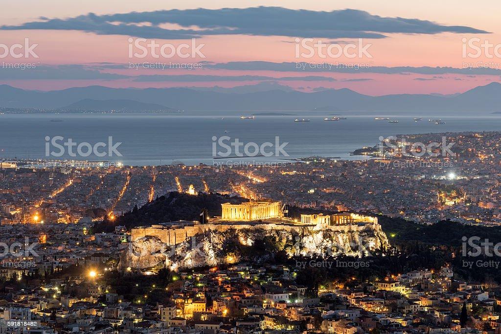 View of the Acropolis, Athens, Greece stock photo