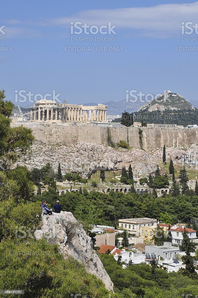 view of the acropolis from philopappos hill stock photo