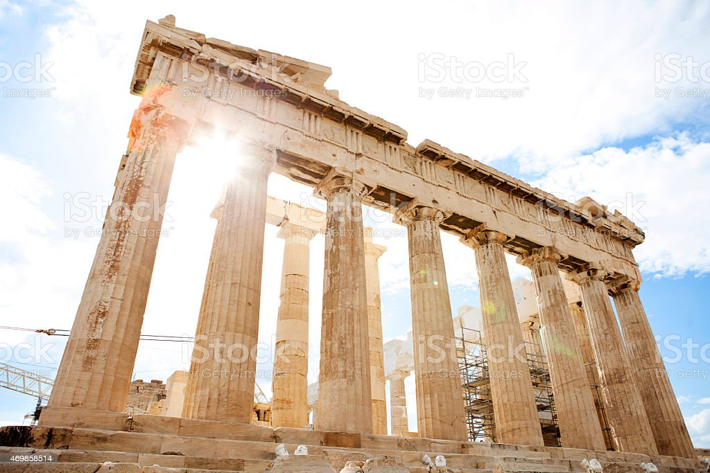View of the Acropolis Parthenon on a clear sunny day stock photo