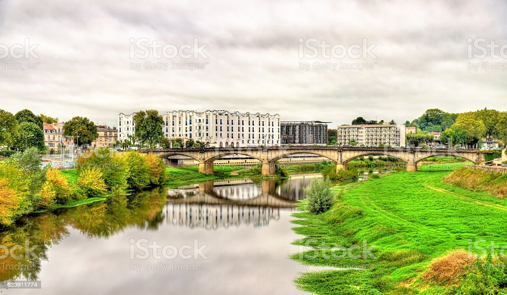 View of the Adour River in Dax - France, Landes stock photo