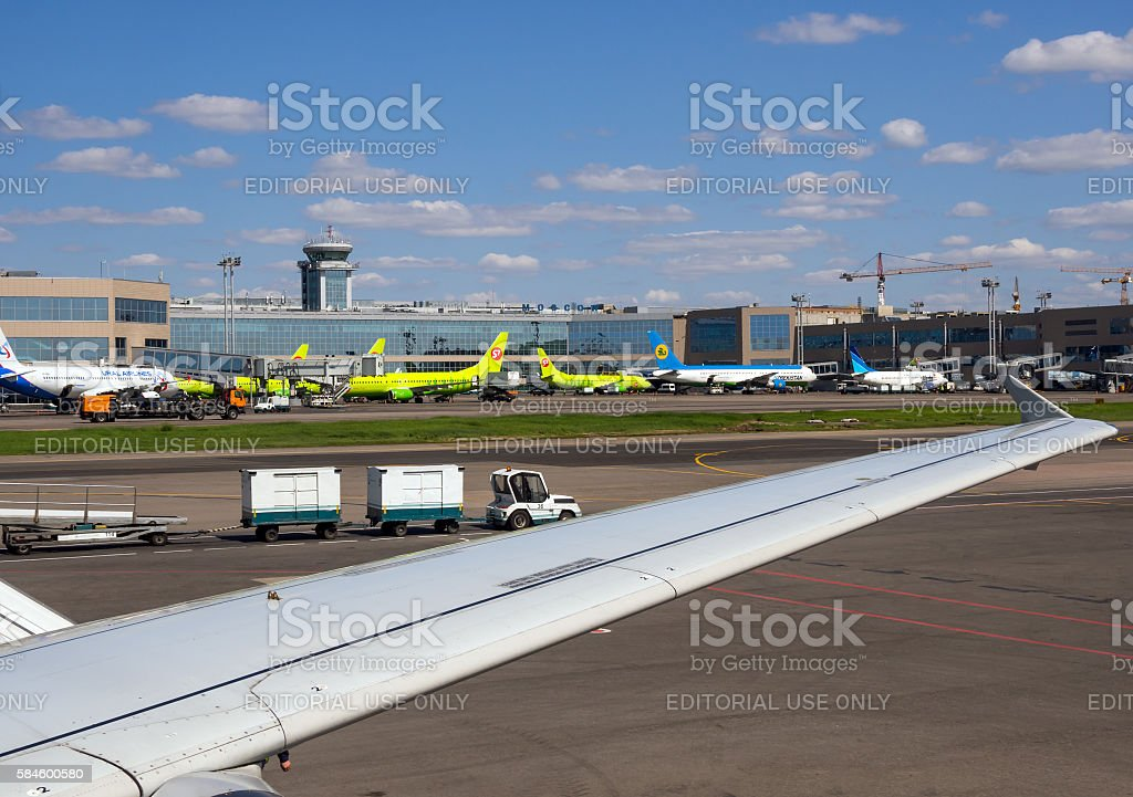 View of the airfield  of the airport Domodedovo with ladder stock photo